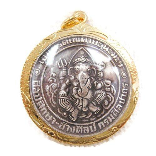 Ganesha Gold Plating Coin Pendant Talisman Hindu Thai Buddha Holy Amulet GL42 Buddha Pendant Charm