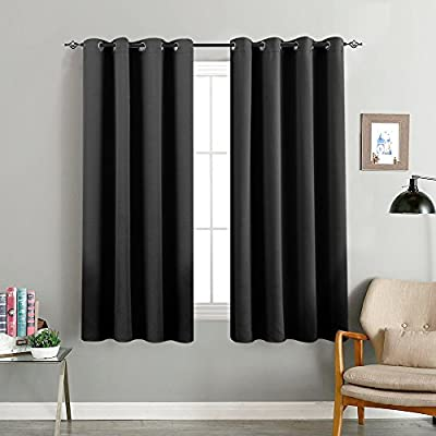 """Blackout Curtains for Bedroom 63 inches Long Triple Weave Window Curtain Panels for Living Room 2 Panels Room Darkening Thermal Insulated Drapes Grommet Top, Black - 【PACKING DETAIL】Each package includes 2 blackout curtains panels. 52x63