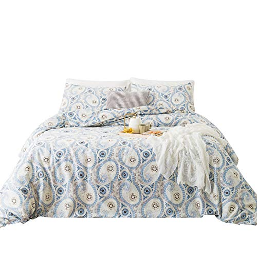Black White Paisley Duvet Cover - SUSYBAO 3 Pieces Duvet Cover Set 100% Natural Cotton King Size Blue Paisley Bedding Set with Zipper Ties 1 Bohemian Chic Floral Duvet Cover 2 Pillowcases Luxury Quality Soft Breathable Lightweight