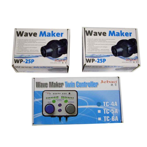 2 Jebao WP-25P aquarium wave maker with TWIN Dual controller TC-4A coral reef tank by Jebao