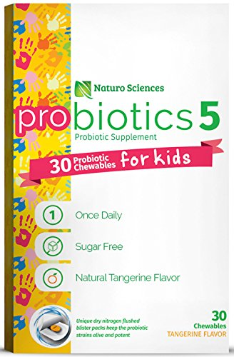 Naturo Sciences, Childrens Chewable Probiotic, Kids Digestive Immune Defense Probiotics, Nitrogen Filled Blister Packs for Best Product Freshness, 30 Once Daily Sugar Free Natural Tangerine Favor