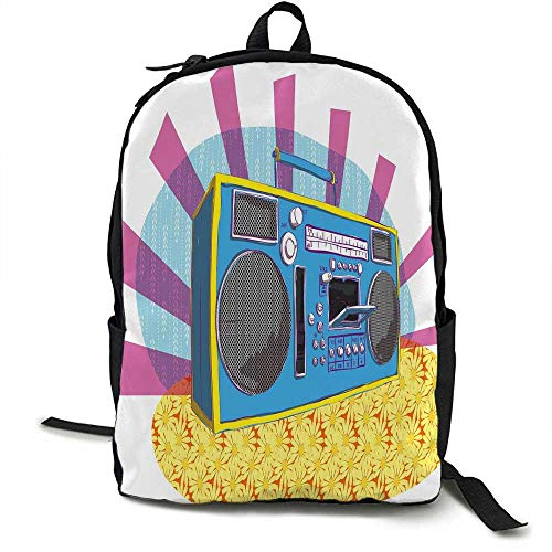70s Party Decorations Light travel backpack Retro Boom Box in Pop Art Manner Dance Music Colorful Composition Multi-functional daily carrying 16.5 x 12.5 x 5.5 Inch Multicolor