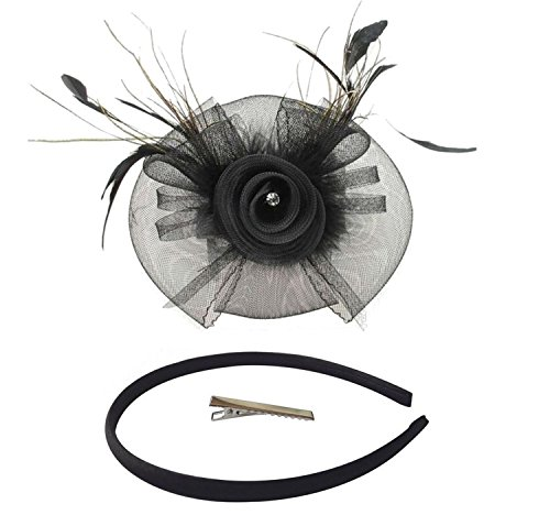 [Fascinator Hair Clip Head Hoop Feather Rose Flower Derby Cocktail Party Wedding Women Black 4] (1920s Flapper Hairstyles)