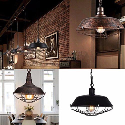 Hitommy Retro Vintage E27 Fixture Industrial Loft Bar Pendant Light Ceiling Lamp Chandelier - Red Bronze