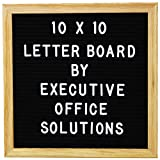 10 X 10 Changeable Letter Board - Black Felt With Solid Oak Frame, Wall Mount, Canvas Bag, and 290 Characters - by Executive Office Solutions