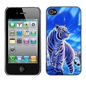 Caucho caso de Shell duro de la cubierta de accesorios de protección BY RAYDREAMMM - Apple iPhone 4 / 4S - Winter Snow Cub Tiger White Blue Nature