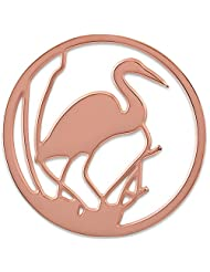 MS Koins Stainless Steel Swan Coin Rose Gold Plated Fits Our Coin Locket System, 30mm Diameter