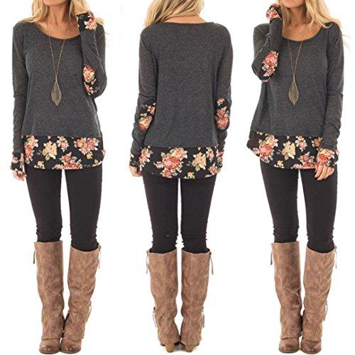 Vovotrade Women Elegant Floral Patchwork Casual Blouse Sweaters Ladies Long Sleeve T-Shirt Tops Sweatshirt