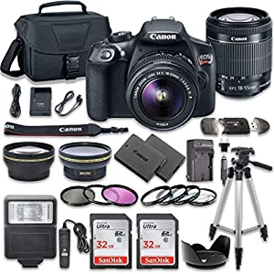 51PCCtZlg7L. SS300  - Canon EOS Rebel T6 DSLR Camera Bundle with Canon EF-S 18-55mm f/3.5-5.6 is II Lens + 2pc SanDisk 32GB Memory Cards…