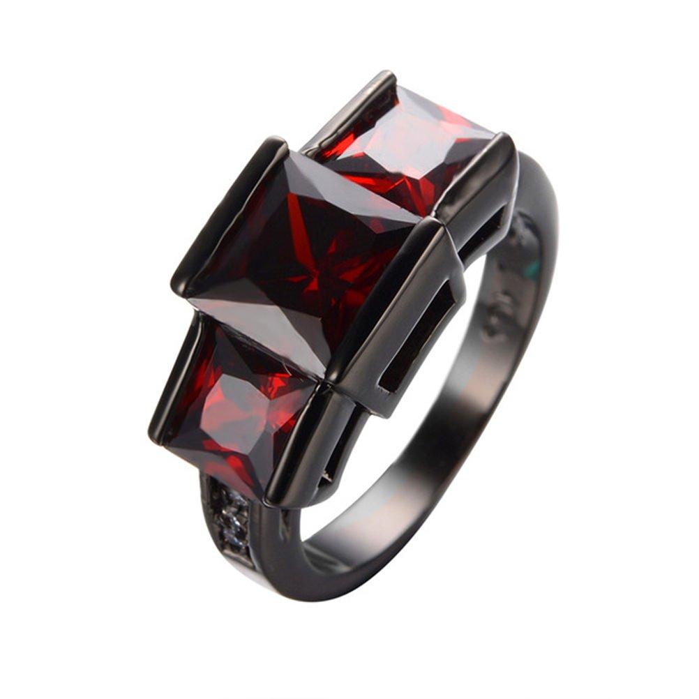 Wedding Charming Princess Cut Red Black Filled Jewelry 6-10 Fashion Rings