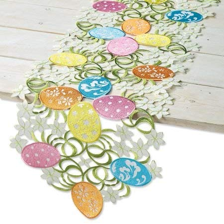 """CURRENT Easter Egg Table Runner - Polyester 13"""" x 68"""" Table Linen, Embroidered with Cut-Work, Easter Table Runner, Machine Washable"""