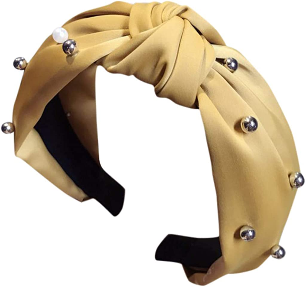Simply estilo turbante Diadema de tela de algod/ón para mujer con nudo