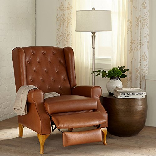 brylanehome queen anne style tufted wingback recliner camel0