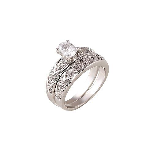 Dx forma Oval White Zircon anillos de compromiso de diamantes de doble con cristales anillos de