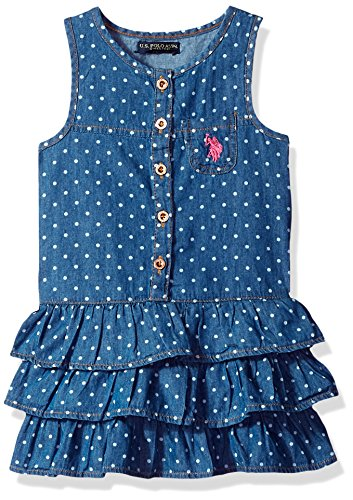 U.S. Polo Assn. Girls' Toddler Casual Dress, Drop Waist Ruffles Medium wash, 2T