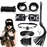 Fetish Sex Toys Restraints Kits Bed Restraints Bondage Sex Restraints Set BDSM Sex Things HandCuffs Whips Flog Ankel Cuffs Blindfold Cotton Rope Sex Restraining Sets for Couples Women Men