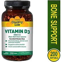 Country Life - Vitamin D3, Non-fish 5000 IU - 200 Softgels