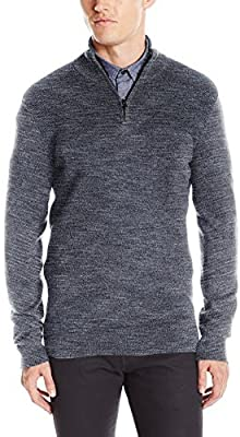 Kenneth Cole REACTION Mens Quarter Zip Marled Sweater