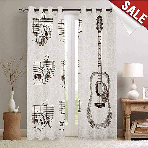 Guitar, Customized Curtains, Sketch Art Style Instrument and Chords Acoustic Flamenco Technique Skill Talent, Blackout Window Curtain, W84 x L108 Inch Cream Brown]()
