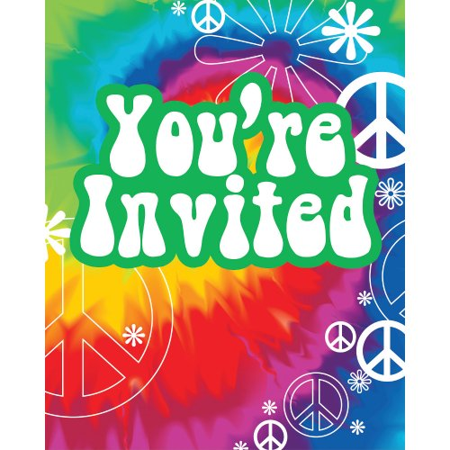 Tie Dye Hippie Costume Ideas (Creative Converting Tie Dye Fun 8 Count Party Invitations)