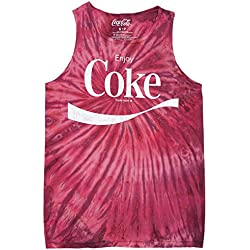 Enjoy Coke Logo Mens Tank Top in Burgundy Tie-Dye