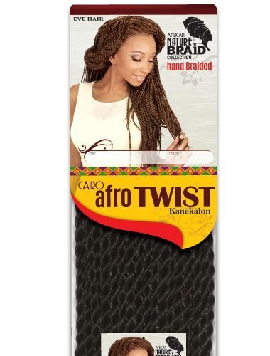 Eve Hair African Nature Braid Collection Hand Braided Cairo Afro Twist 100% Kanekalon Fiber Crochet Braid (#1B) (Cairo Collection)