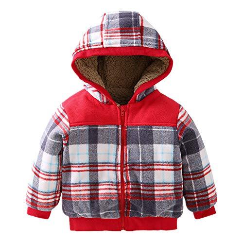 (Beide Baby Boys Girls Winter Fleece Jacket Coat Hooded Warm Outwear(Plaid,9-12m))