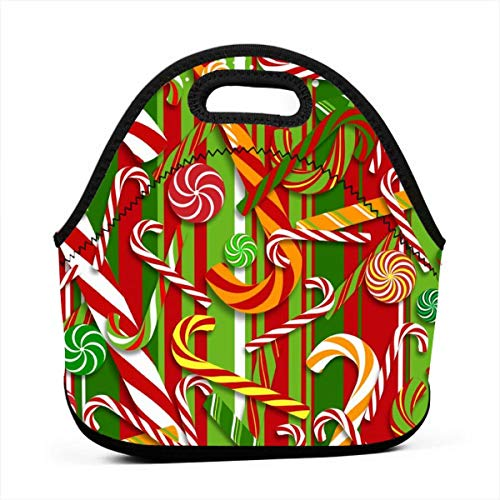 Neoprene Portable Lunch Bag Carry Case Tote with Zipper Box Cooler Container Bags Picnic Outdoor Travel Fashionable Handbag Pouch for Women Men Kids Girls(Sweet Candy Cane) ()