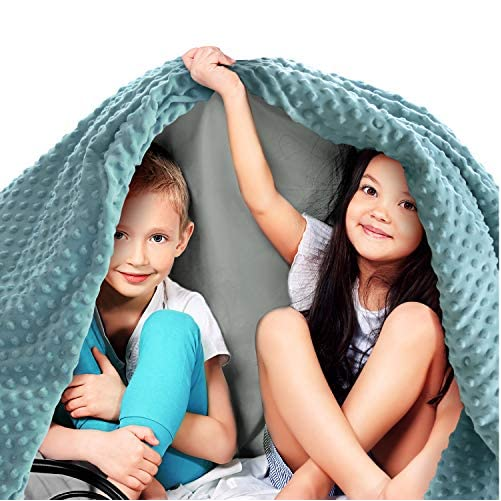 """Quility Premium Kids Weighted Blanket & Removable Cover - 5 lbs - 36""""x48"""" - for a Child Between 40-70 lbs - Single Size Bed - Premium Glass Beads - Cotton/Minky - Grey/Aqua Color 1"""