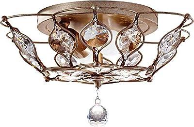"Feiss FM374BUS Leila Crystal Flush Mount Ceiling Lighting, Satin Nickel, 2-Light (14""W x 8""H) 120watts"