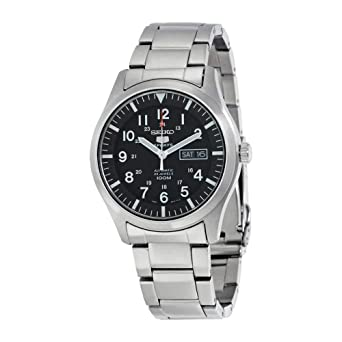 ce8673832 Image Unavailable. Image not available for. Color: Seiko Men's SNZG13 Seiko  5 Automatic Black Dial ...