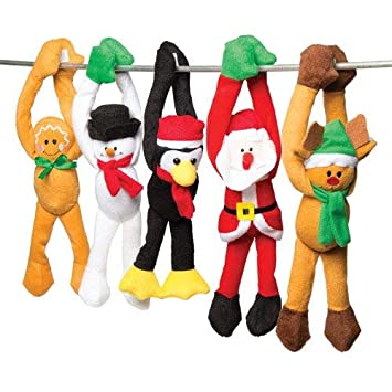 Baker Ross - Muñecos de Peluche navideños para Colgar - Un Juguete Suave, Calcetines y Bolsas Sorpresa invernales (Pack de 5): Amazon.es: Juguetes y juegos