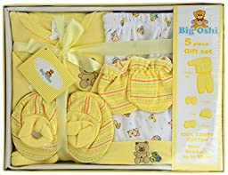 Big Oshi Unisex-baby Layette 5 Piece Gift Set, Yellow, 0-3 Months