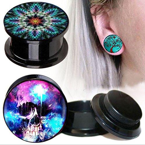 TIANCI FBYJS 3pair Ear Plugs Gauges Woman Men Piercing Screw Earring Stretcher Expander Ear Tunnel Plugs (12mm=1/2'') 1/2' Mens Ring