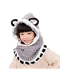 FOONEE Kids Crochet Knit Winter Hats Fox Animal Knitted Coif Hood Hat Scarf with Ears