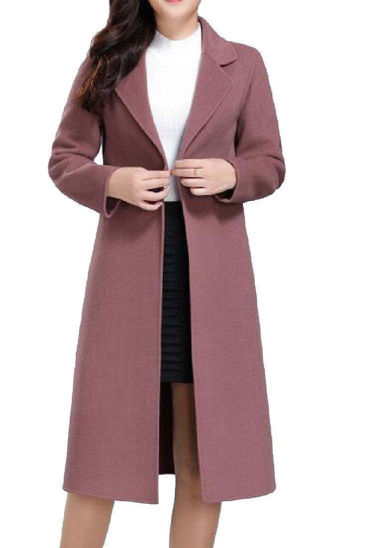 Sheng Xi Womens belt Outwear Topcoat Lapel Pure Color Pea Coat Pink 3XL