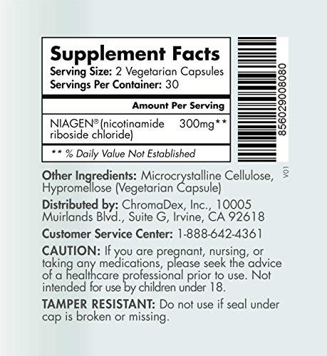 51PCFQdOfjL - TRU NIAGEN Nicotinamide Riboside - Patented NAD Booster for Cellular Repair & Energy, Vitamin B3 Niacin NMN, 150mg Vegetarian Capsules, 300mg Per Serving, 60 Day Bottle