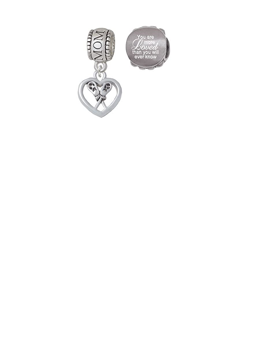 Lacrosse Sticks on Open Heart Family Charm Bead with You Are More Loved Bead Set of 2