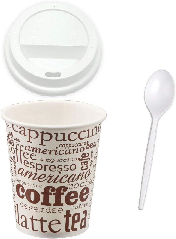 TELEVASO - 300 uds - Vaso de cartón para café Vending + Tapa Traveler + cucharilla - Capacidad de 200 ml (7 oz) - Reciclables - Ideal para Bebidas Calientes como café, té, Leche