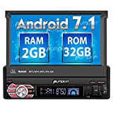 Android 7.1 Single Din Car Stereo Android Auto with Navigation, 7 inch Flip Out Touch Screen, Bluetooth, 32GB + 2GB Head Unit Support GPS, MirrorLink, WIFI, Backup Camera, AUX, SD/ USB, Dash Cam