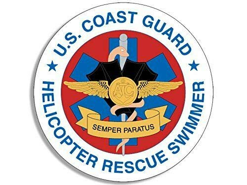 MAGNET 4x4 inch Round USCG Coast Guard Helicopter Rescue Swimmer Sticker (seal logo) Magnetic vinyl bumper sticker sticks to any metal fridge, car, signs