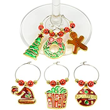 christmas wine charms set of 6 great for holiday parties perfect to - Christmas Wine Charms