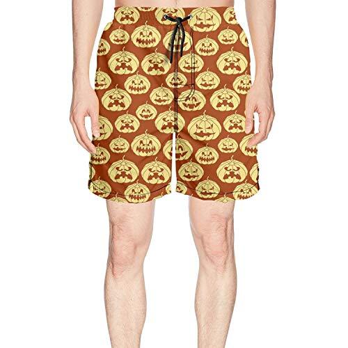 Halloween Pumpkin Carving face red Man Athletic Gym Shorts Swim Shorts -
