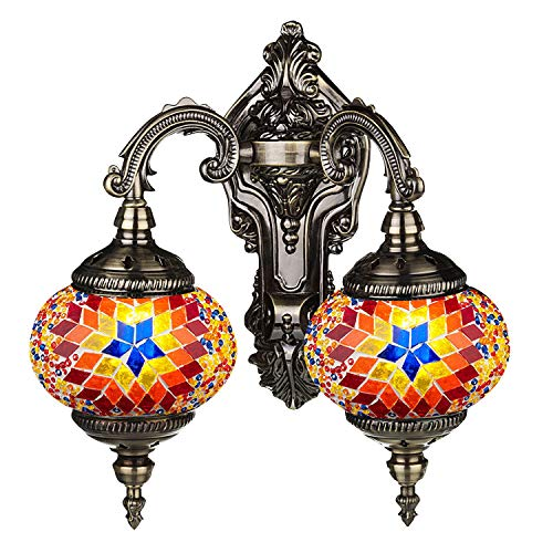 Mosaic Lamp-Handmade Turkish Mosaic Double Wall Lamp with Mosaic Lantern, Bronze Base, Unique Double Glass Mosaic Wall Light for Room Decoration -