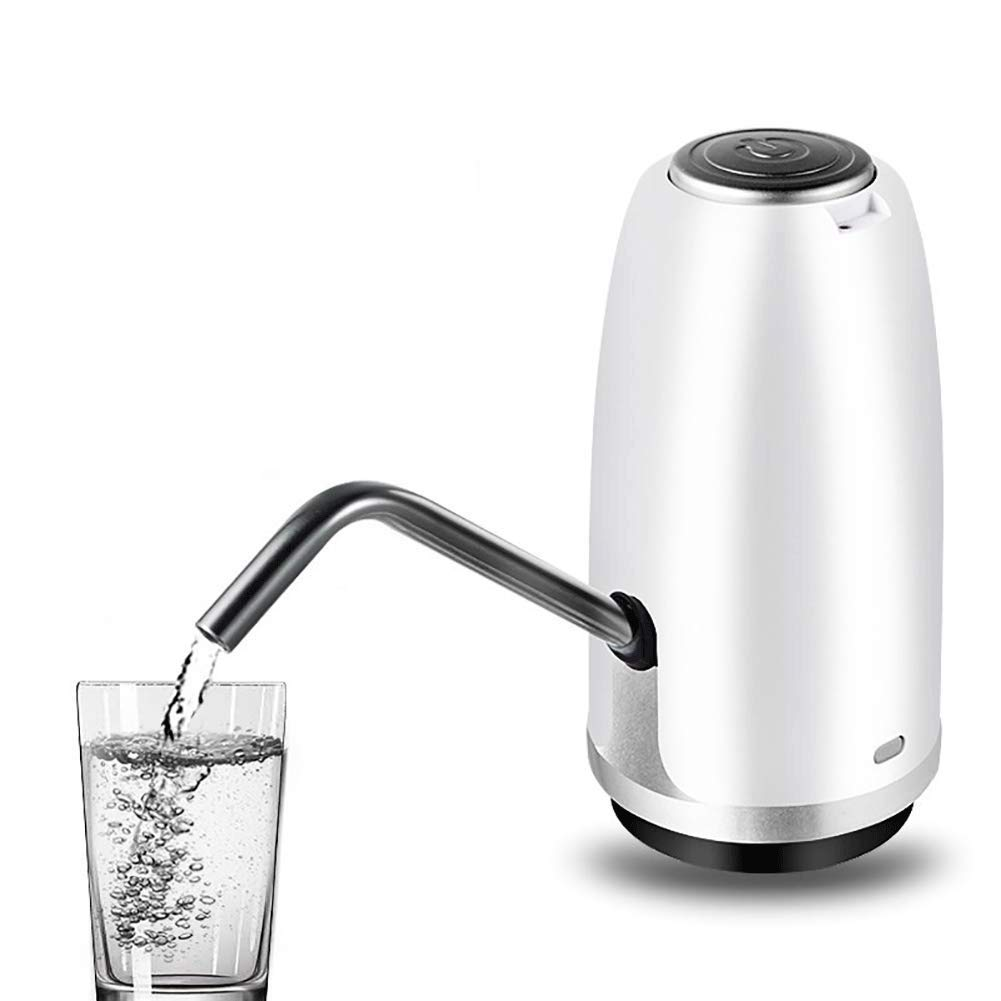 HUShjsd Drinking Water Pump,Electric Water Pump, Household Automatic Water Press,USB Charging Portable Gallon Bottled Desk Top Dispenser Button Kettle Electric Watering Kitchen (Color : White)