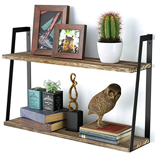 SRIWATANA 2-Tier Floating Wall Mount Shelves Book Shelves Rustic Wood Shelves Perfect Decor for Any Room (Circle Wall Bookshelf)