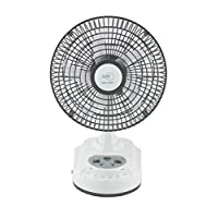 """Akari Ak-8008 8"""" Rechargeable Ac/Dc Table Fan with Emergency Led Light, Solar Chargng Facility -White"""
