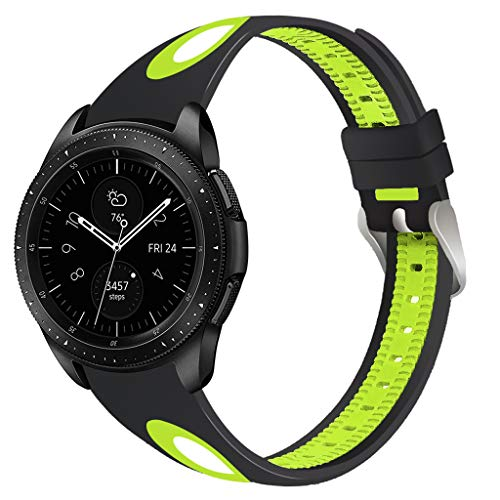 - JP-DPP9 Double Colors Sport Silicone Strap Watch Band Wristband Bracelet for Samsung Galaxy Watch 46mm (Green)
