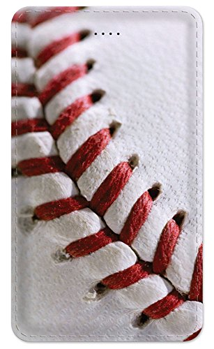 Art Plates Baseballs (Portable Charger Amped 5000mAh External Battery Pack (with Built-in Micro USB cable and iPhone Lightning adapter) External Battery Pack Fast Charging - Baseball Stitching)
