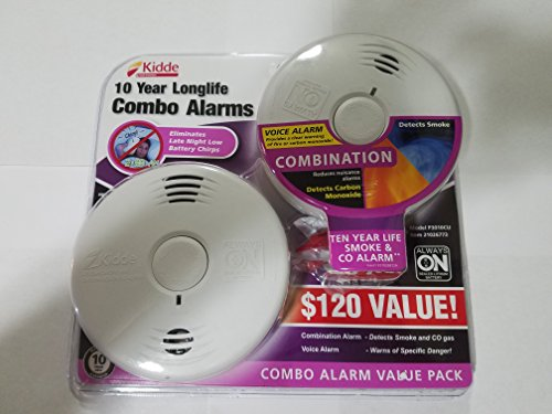 Co Alarm Voice (Kidde Worry-Free 10 Year Battery Combination Smoke and CO Alarm with Voice (2-Pa)